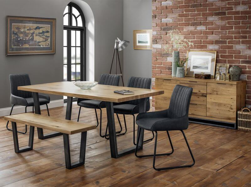 Phenomenal Brooklyn Solid Oak Dining Bench With Gunmetal Legs Andrewgaddart Wooden Chair Designs For Living Room Andrewgaddartcom
